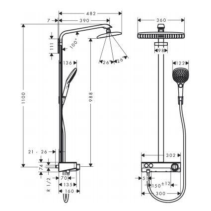 Raindance Select E 360 1jet ST Showerpipe Душова система, білий/хром - 2