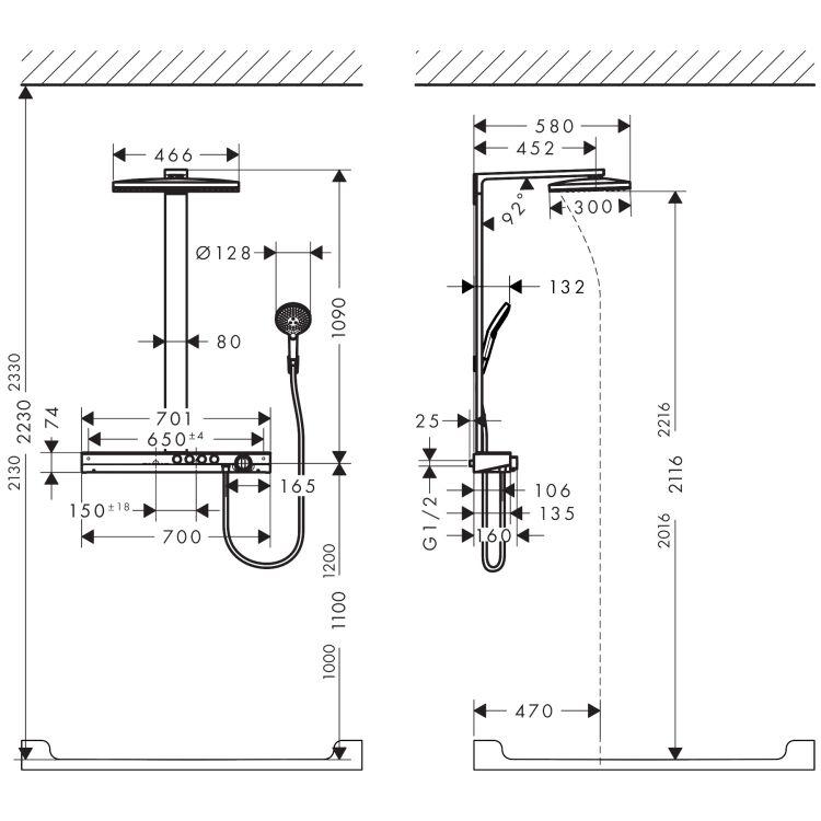 Rainmaker Select 460 3jet Showerpipe для душа, белый/хром - 2