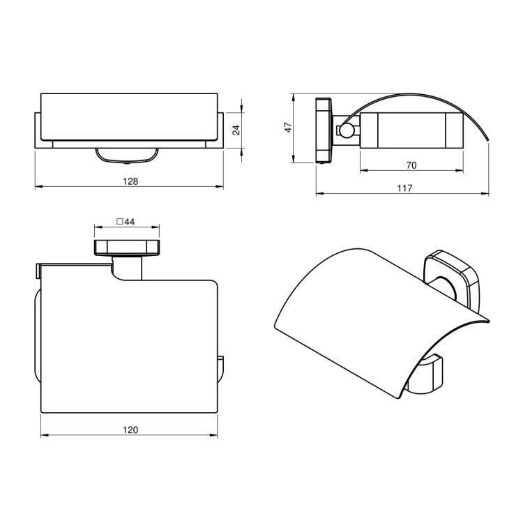 TEO тримач паперу, кріплення до стіни, хром - 2