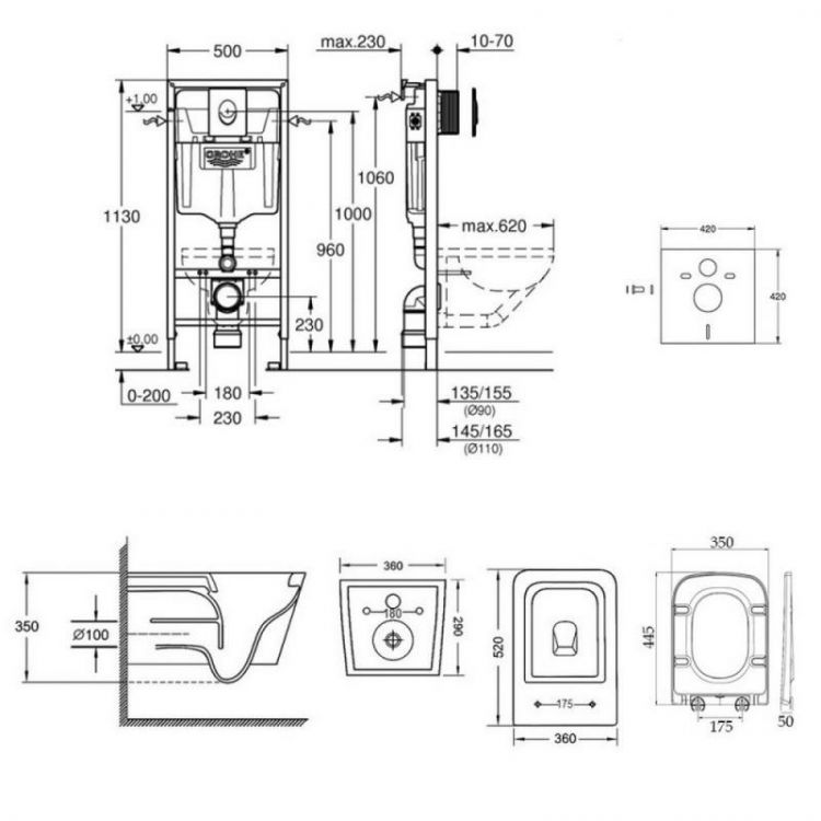 Набір інсталяція 4 в 1 Grohe Rapid SL 38722001 + унітаз з сидінням Qtap Crow QT05335170W - 2