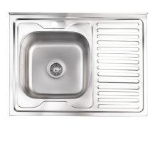 Кухонна мийка Lidz 6080-L Satin 0,8 мм (LIDZ6080LSAT8)