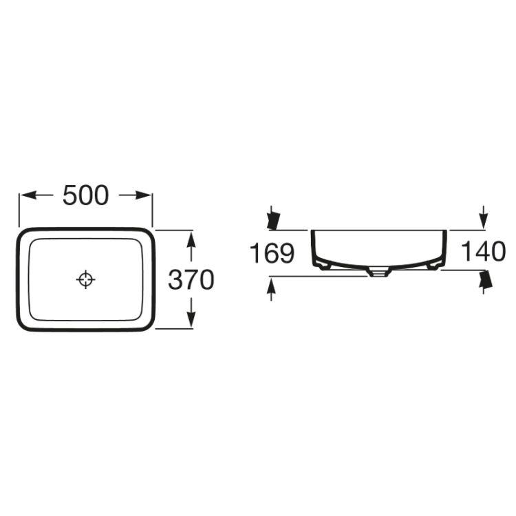 INSPIRA Square умивальник 500*370*140мм, квадратний, накладної, без отв. під змішувач, без переливу - 2