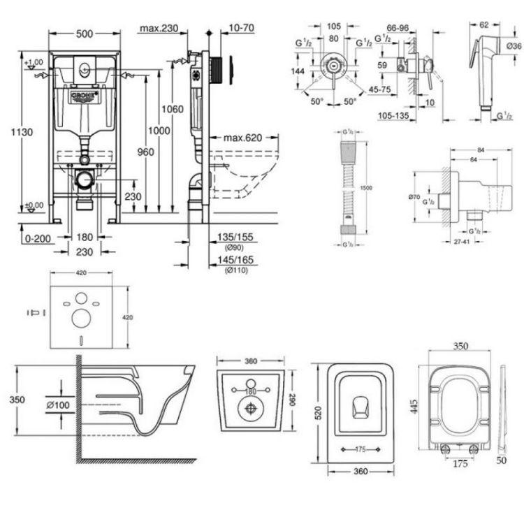 Комплект інсталяція Grohe Rapid SL 38721001 + унітаз з сидінням Qtap Crow WHI 5170 + набір для гігієнічного душу зі змішувачем Grohe BauClassic 111048 - 2