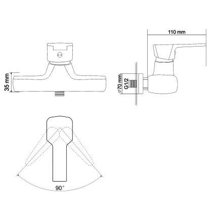 ROCK змішувач для душу одноважільний, хром 35 мм - 2