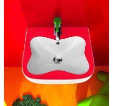 FLORA KIDS мини-умывальник 45*41см, с 1-м отверстием под смеситель, цвет белый/красный