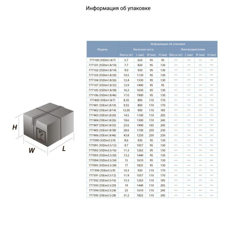 Насос центробежный скважинный 1.1кВт H 77(57)м Q 90(60)л/мин Ø80мм (кабель 35м) AQUATICA (DONGYIN) (777393) - 3