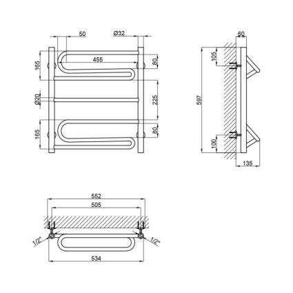 """Рушникосушарка водяна Lidz Zigzag (CRM) D32/20х1/2"""" 500x600 P2 - 2"""