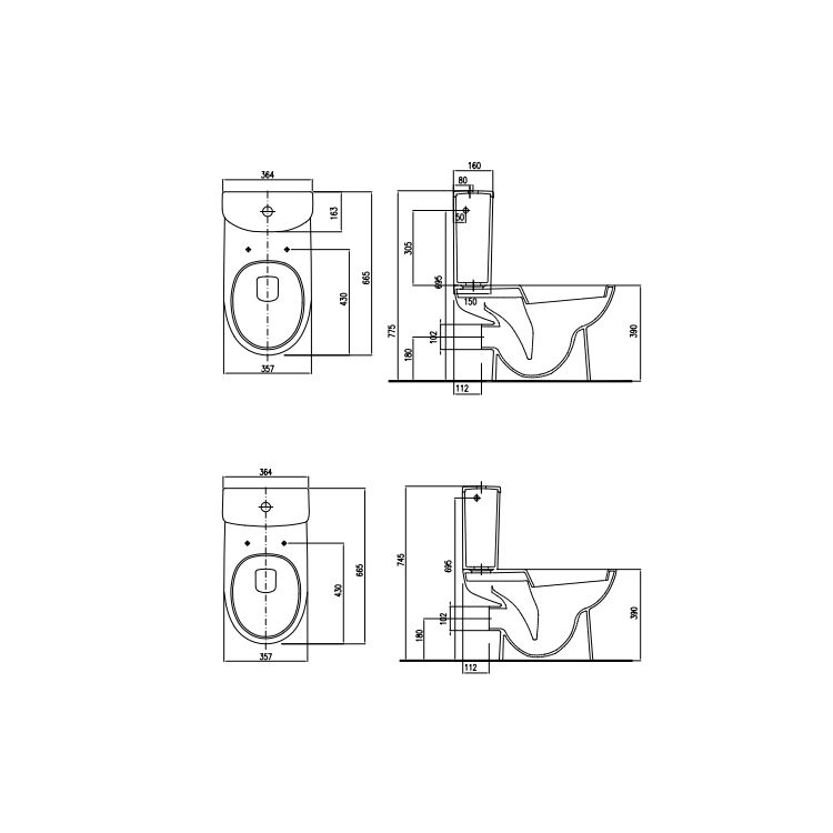 NOVA PRO унитаз-компакт напольный Rimfree: унитаз г/в, бачок прямоугольный, нижн/п, 6/3 л, Soft Closing - 2