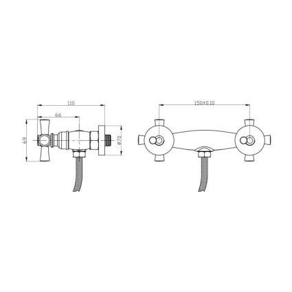 Змішувач для душ.кабіни (б) GF Italy (CRM)/S-21-363 - 2