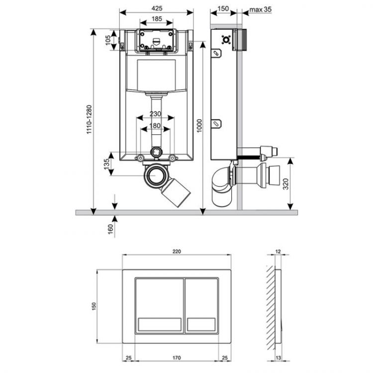 Набір інсталяція 4 в 1 Qtap Nest ST з квадратної панеллю змиву QT0133M425M06029SAT - 2