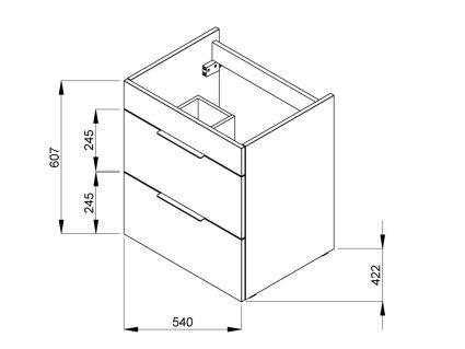 SUIT тумба 540*422*620мм з раковиною, 1 отвір під змішувач, 2 висувні шафи, колір білий глянець - 2