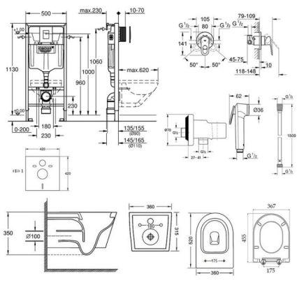 Комплект інсталяція Grohe Rapid SL 38772001 + унітаз з сидінням Qtap Jay QT07335176W + набір для гігієнічного душу зі змішувачем Grohe BauLoop 111042 - 2