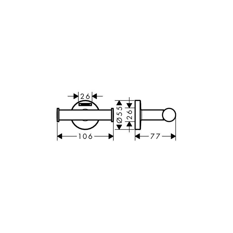 Logis Набор аксессуаров: крючок двойной, держатель туалетной бумаги, стакан, туалетная щётка (41725000+41723000+41718000+41722000) - 5
