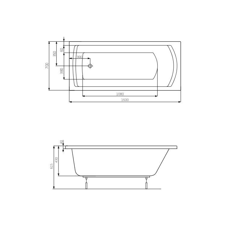 LINEA ванна 160*70см, с ножками - 2