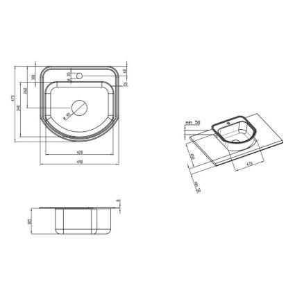Кухонна мийка Lidz 4749 dekor 0,8 мм (LIDZ4749MICDEC) - 2