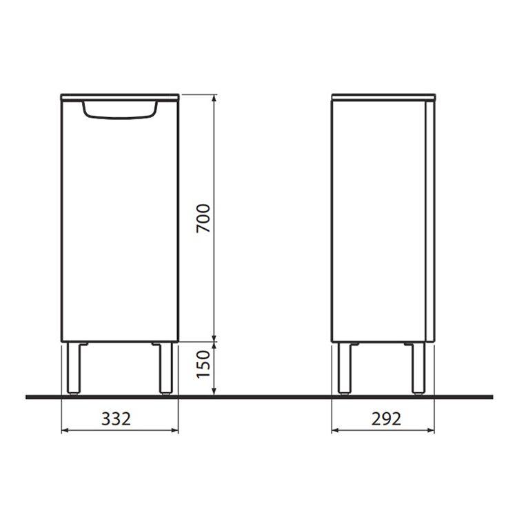 REKORD бічний шафка, низький, білий глянець - 2