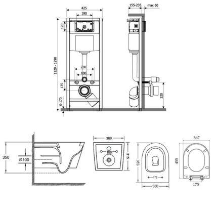 Набір Qtap інсталяція Nest QTNESTM425M11CRM + унітаз з сидінням Jay QT07335176W - 2