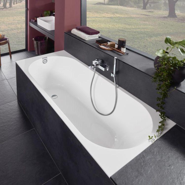 OBERON 2.0 Solo ванна 180*80см, квариловая з ніжками і зливом-переливанням - 3