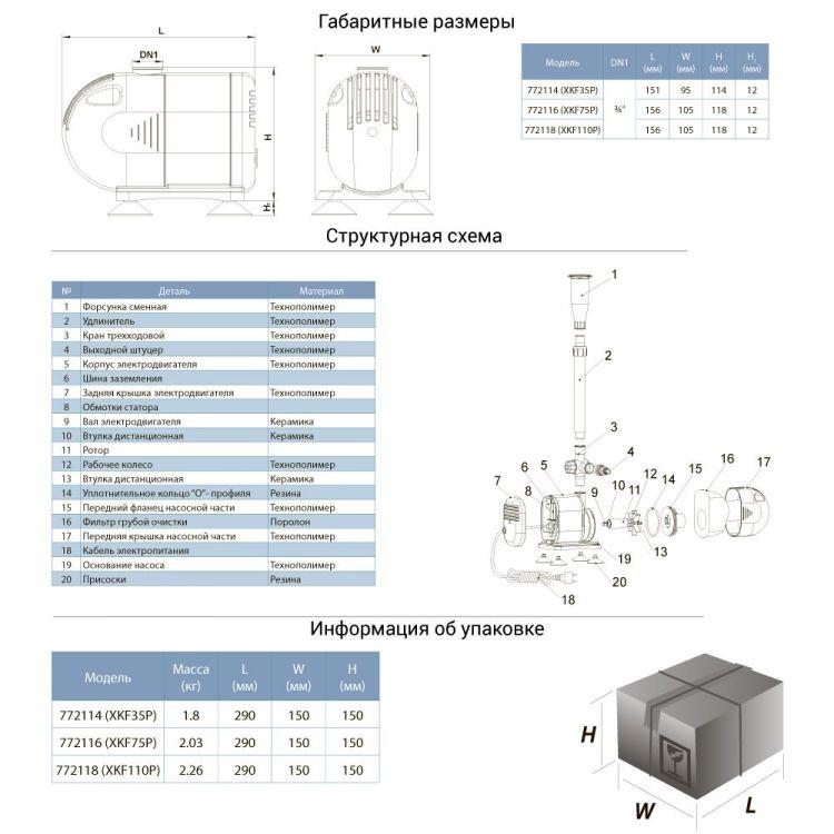 772116 насос для фонтана 75Вт Hmax 2,7м Qmax 2650л/ч (5 форсунок) - 2
