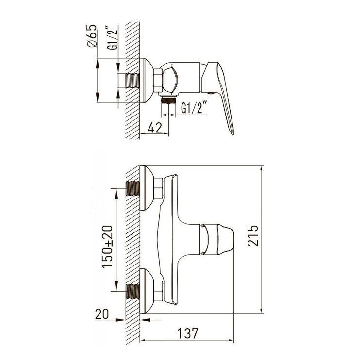 NEMO змішувач для душа, хром, 35 мм - 2