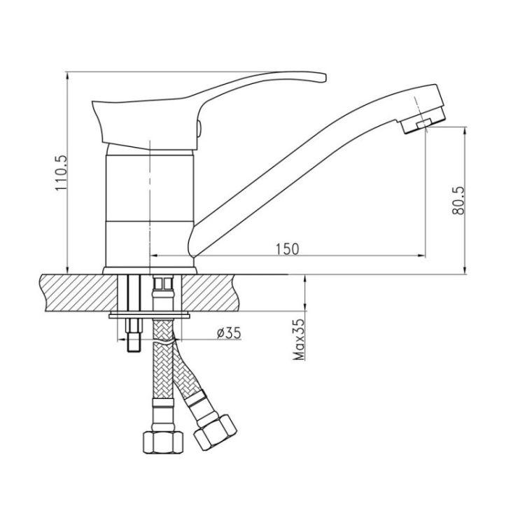 Змішувач для кухні Q-tap Eris 002 мармур - 2