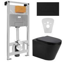 Комплект: NEMO BLACK Rectangular унітаз підвісний з сидінням+VOLLE MASTER NEO пневматична 3в1+ALTO NEO з клавішею змиву, чорна