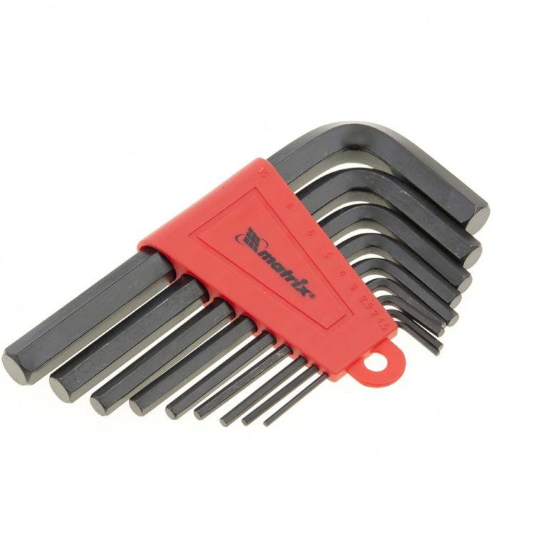 Набор ключей імбусових HEX, 1,5-10 мм, CrV, 9 шт. короткие, оксидированные MTX 112269 - 3