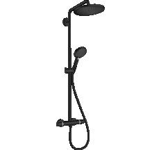 CROMA SELECT S душевая система Showerpipe 280, 1jet, с термостатом, с ручным душем Raindance Select S 120, 3jet, черный матовый