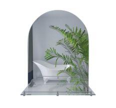 Lidz дзеркало настінне прямокутне з дугоподібним верхом з полицею W 140.07.03 500х680х100