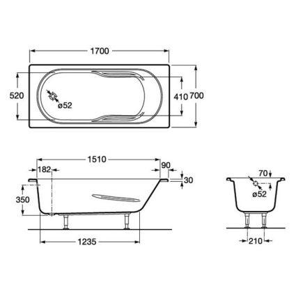 GENOVA ванна 1700*700мм, с ножками - 2