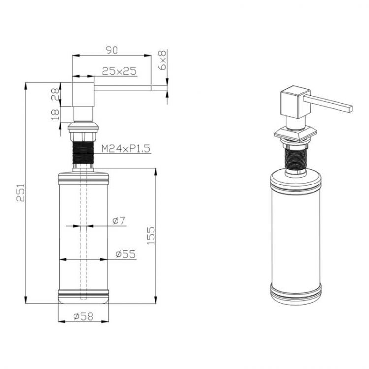 Дозатор для моющего средства Potato 205 ULA квадрат - 2