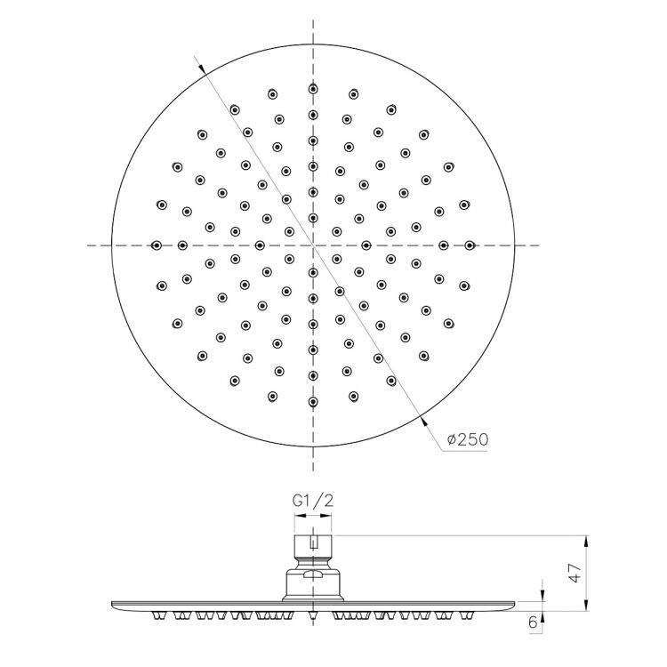 Душ верхній 250 мм , сталь - 2