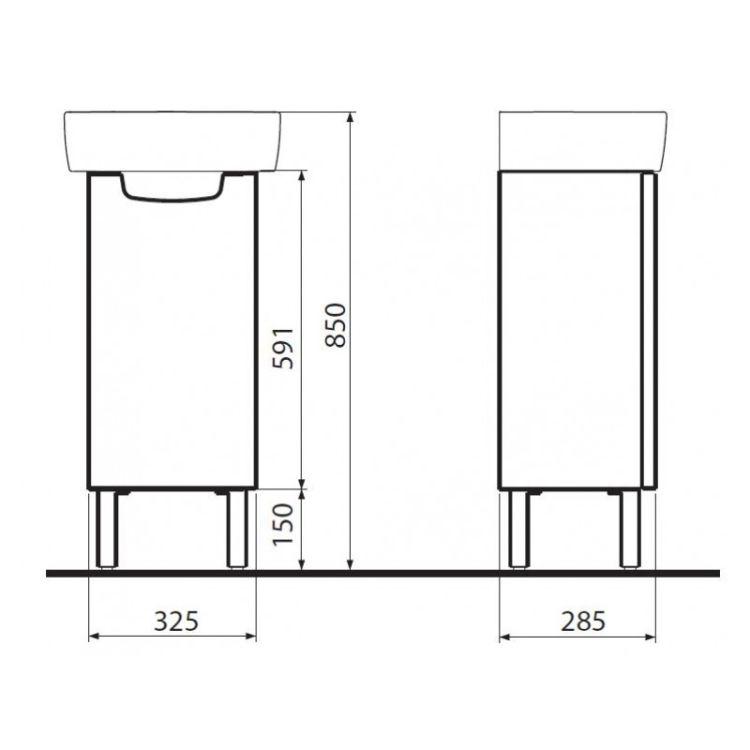 REKORD шафка під умивальник 31*59,1*26,2 см, білий глянець (пол) - 2