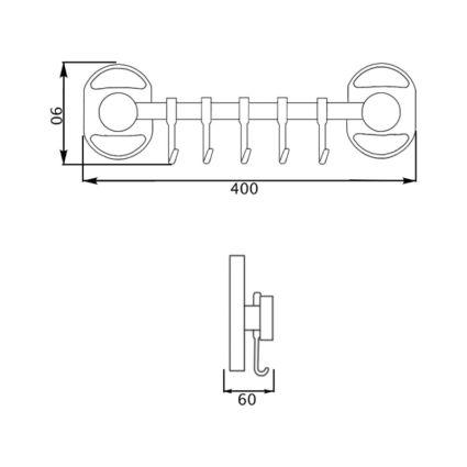 Тримач для рушника 5 крючків Potato P2914-5 - 2