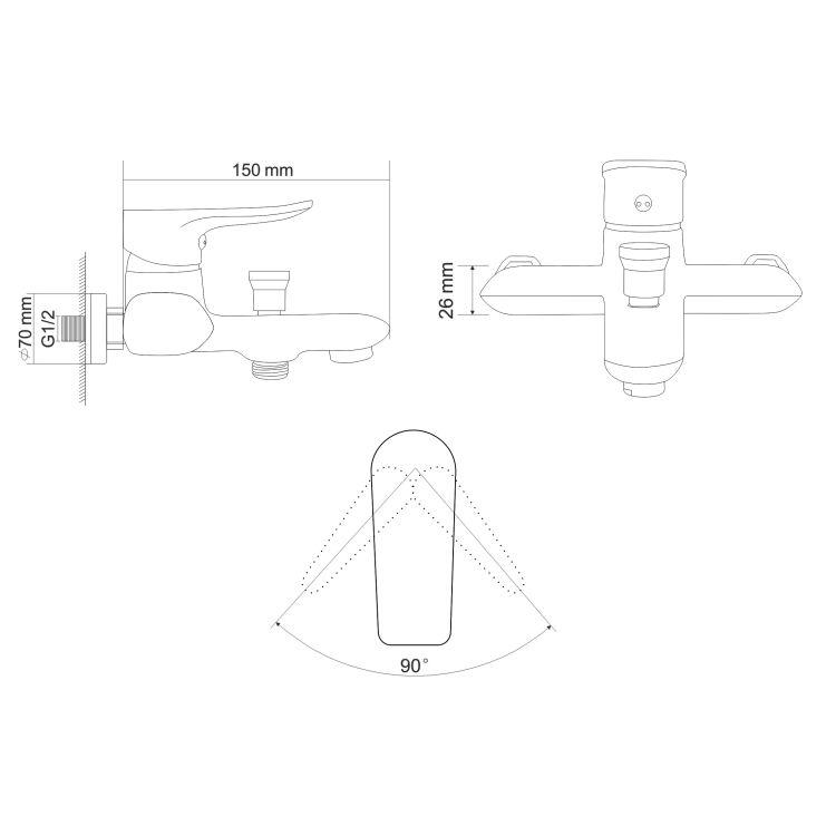 VELUM змішувач для ванни одноважільний, хром 35 мм - 2