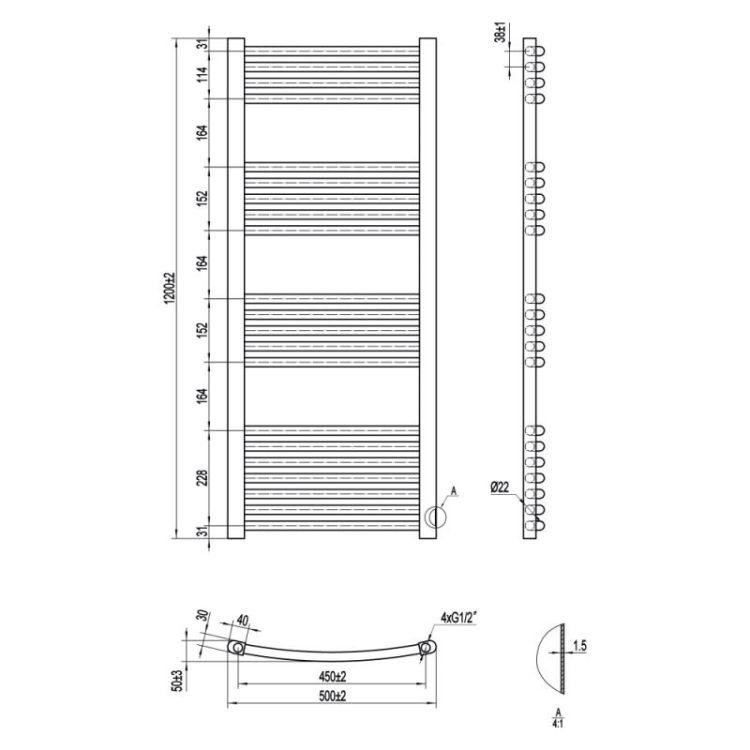 Рушникосушарка водяна Qtap Evia (SIL) P21 1200x500 HY - 2