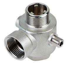 """З'єднувач пятивыводной + зворотний клапан 80мм M1""""xF1""""xF1""""xM1/4""""xF1/4"""" Silver 480г AQUATICA (779601)"""