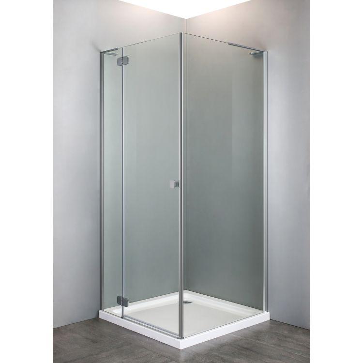 BENITA душова кабіна квадратна 900*900*2000мм, піддон (PUF) 5 см (з сифоном),ліва, орні, профіль хром, прозоре скло - 4