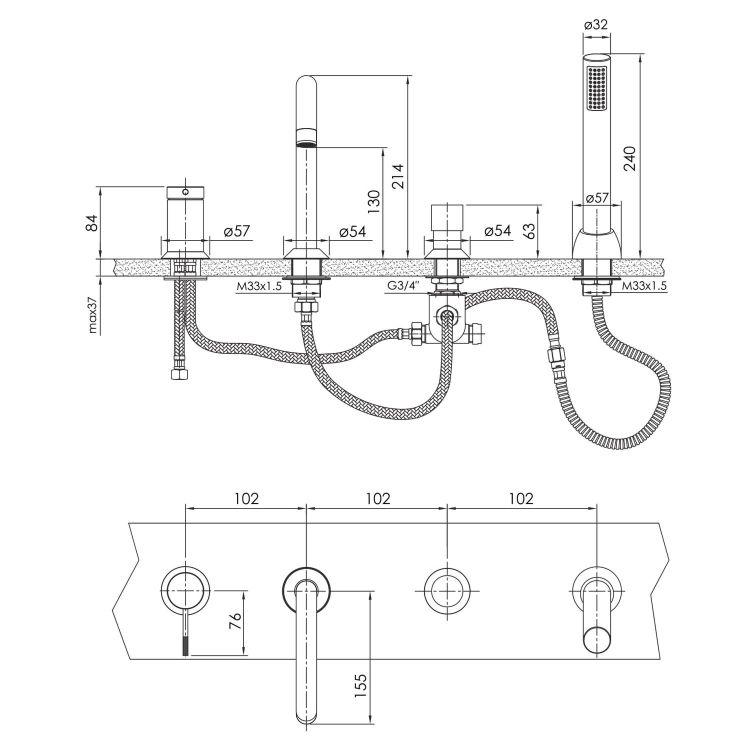 BRENTA смеситель для ванны врезной, граф.хром - 2
