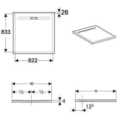 SESTRA душовий піддон 90*90см, квадратний, колір сірий - 2