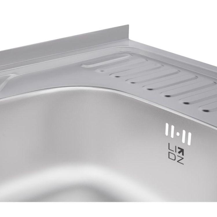 Кухонна мийка Lidz 6060-L Satin 0,8 мм (LIDZ6060LRSAT8) - 6