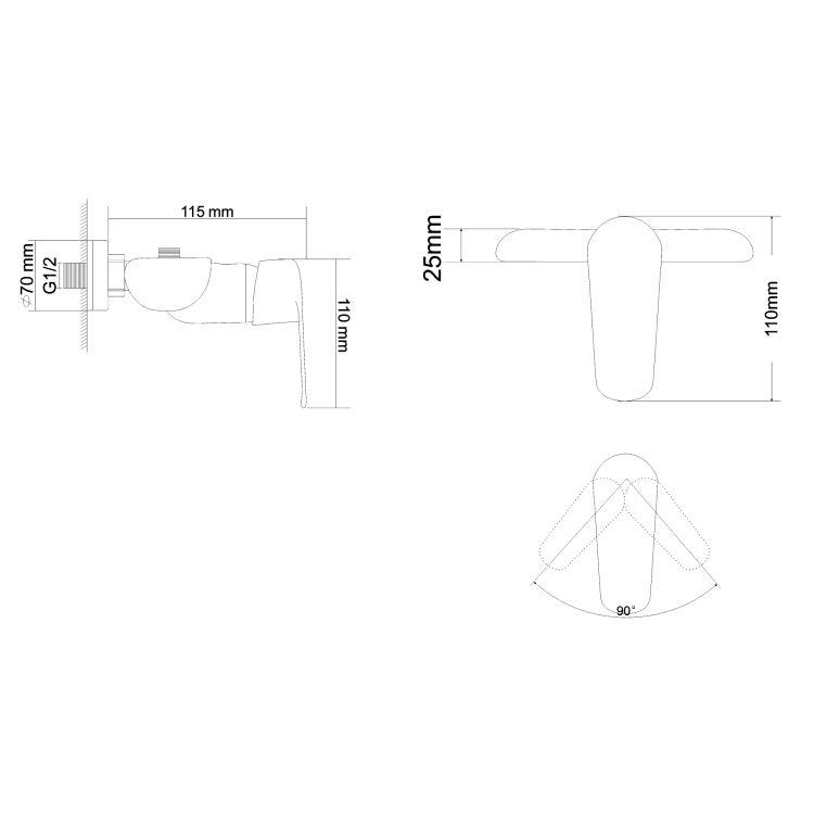 FLY змішувач для душу одноважільний, хром, 35 мм - 2