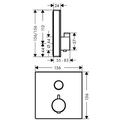 ShowerSelect Термостат для одного споживача, скляний, СМ, чорний/хром - 2