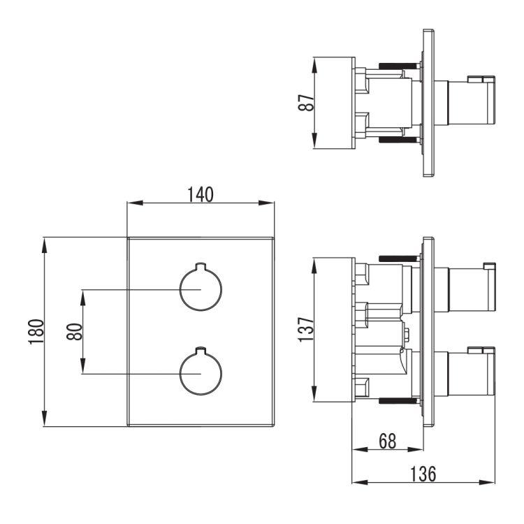 CENTRUM змішувач для ванни, термостат, прихований монтаж (3 споживача) - 2
