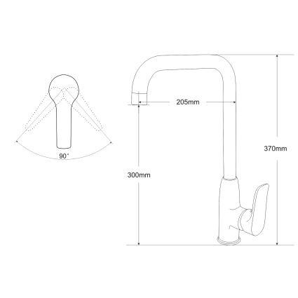 VELUM змішувач для кухні на гайці, хром 35 мм - 2