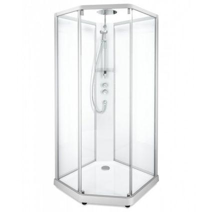 SHOWERAMA 10-5 Comfort душова кабіна п'ятикутна 90*90см, профіль сріблястий, прозоре скло матове скло - 1