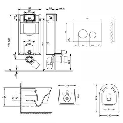 Набір Qtap інсталяція 3 в 1 Nest QT0133M425 з панеллю змиву круглої QT0111M11V1146MB + унітаз з сидінням Swan QT16335178W - 2