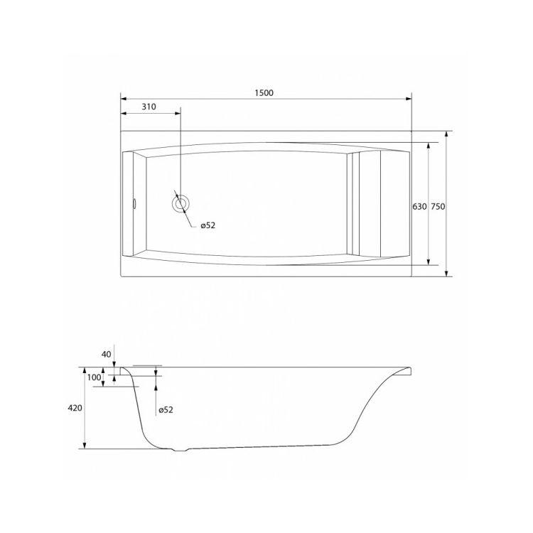Ванна акриловая Cersanit Virgo 150x75 с ножками - 4