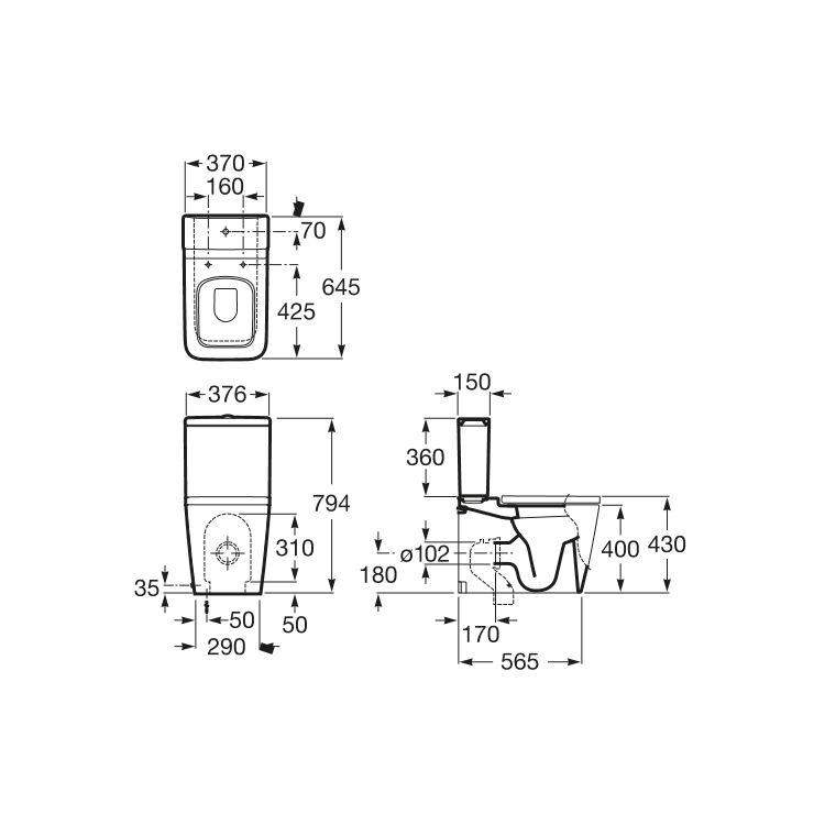 INSPIRA Square унітаз 370*645*794мм, підлоговий, квадратний, в комплекті з коліном - 2
