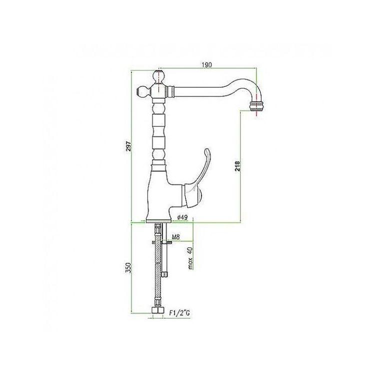Змішувач для кухні Santan IMPERIAL Black 89CR5225 з бічною ручкою, ретро - 2